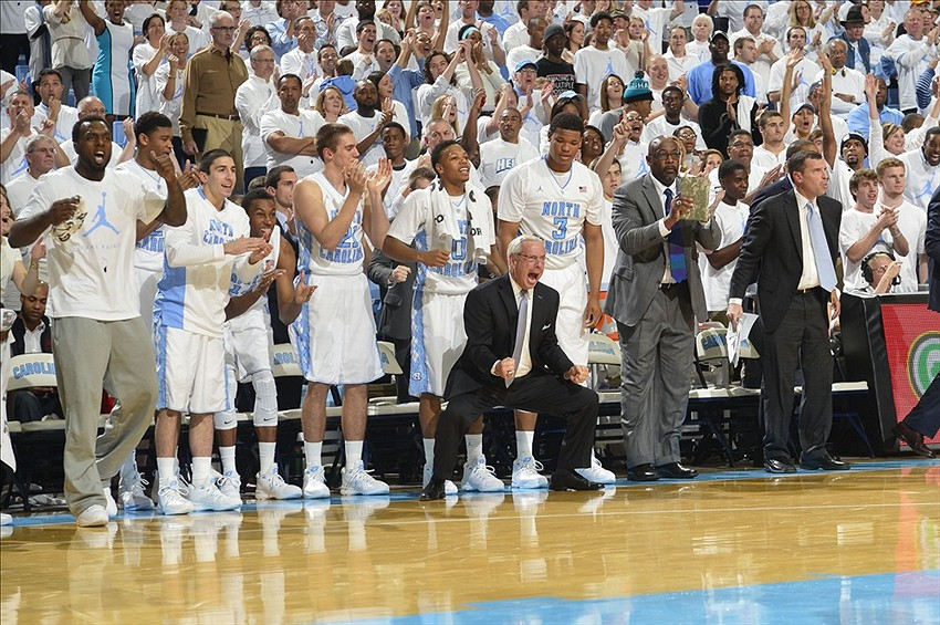 Dec 14, 2013; Chapel Hill, NC, USA; North Carolina Tar Heels bench including head coach Roy Williams reacts in the first half at Dean E. Smith Student Activities Center. Mandatory Credit: Bob Donnan-USA TODAY Sports