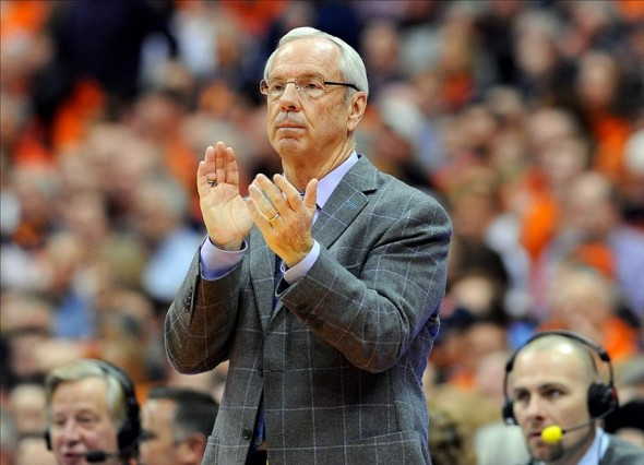 Jan 11, 2014; Syracuse, NY, USA; North Carolina Tar Heels head coach Roy Williams reacts to a play against the Syracuse Orange during the second half at the Carrier Dome. Syracuse defeated North Carolina 57-45. Mandatory Credit: Rich Barnes-USA TODAY Sports