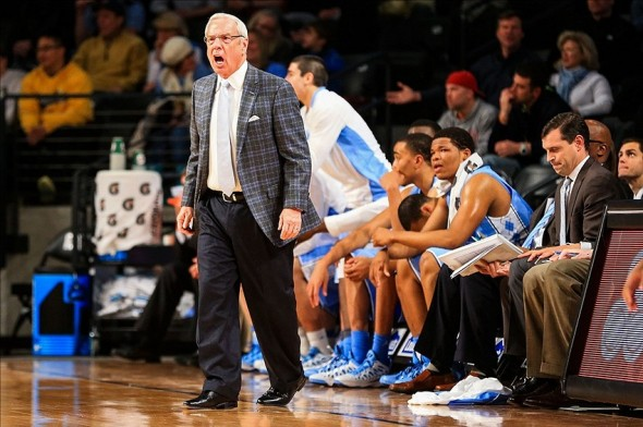 Jan 29, 2014; Atlanta, GA, USA; North Carolina Tar Heels head coach Roy Williams reacts to a call in the first half against the Georgia Tech Yellow Jackets at Hank McCamish Pavilion. Mandatory Credit: Daniel Shirey-USA TODAY Sports
