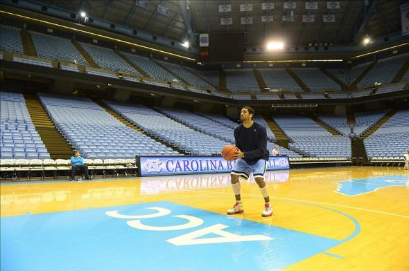 Feb 12, 2014; Chapel Hill, NC, USA; North Carolina Tar Heels forward James Michael McAdoo (43) shoots in an empty area after the game is cancelled at Dean E. Smith Student Activities Center. Mandatory Credit: Bob Donnan-USA TODAY Sports