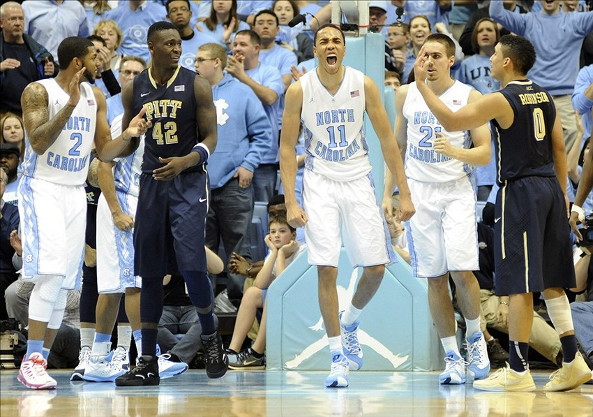 Feb 15, 2014; Chapel Hill, NC, USA; North Carolina Tar Heels forward Brice Johnson (11) reacts after being fouled against the Pittsburgh Panthers at Dean E. Smith Student Activities Center. The Tar Heels won 75-71. Mandatory Credit: Liz Condo-USA TODAY Sports