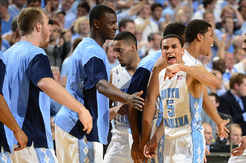 Feb 20, 2014; Chapel Hill, NC, USA; North Carolina Tar Heels guard Marcus Paige (5) reacts in the second half. The Tar Heels defeated the Blue Devils 74-66 at Dean E. Smith Center. Mandatory Credit: Bob Donnan-USA TODAY Sports