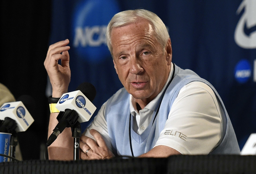 Mar 25, 2015; Los Angeles, CA, USA; North Carolina Tar Heels head coach Roy Williams speaks to media following practice before the semifinal of the west regional at Staples Center. Mandatory Credit: Richard Mackson-USA TODAY Sports