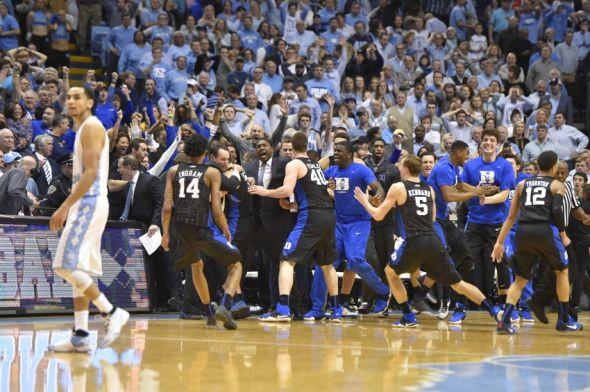 Hill, NC, USA; Duke Blue Devils players celebrate as North Carolina ...