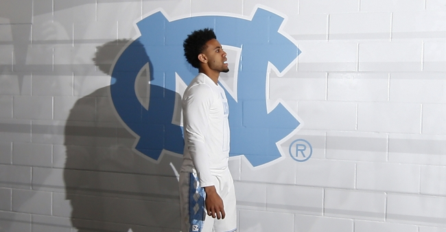 Apr 4, 2016; Houston, TX, USA; North Carolina Tar Heels guard Joel Berry II (2) walks past the team logo prior to the game against the Villanova Wildcats in the championship game of the 2016 NCAA Men
