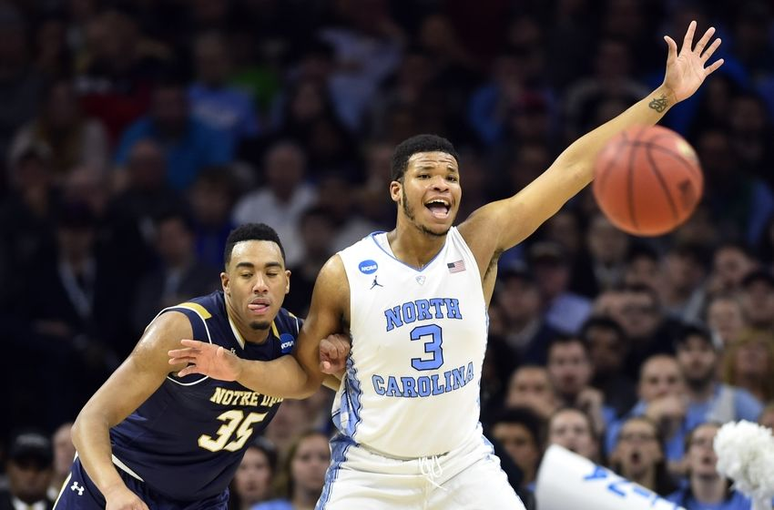 Mar 27, 2016; Philadelphia, PA, USA; North Carolina Tar Heels forward Kennedy Meeks (3) calls for the ball against Notre Dame Fighting Irish forward Bonzie Colson (35) during the second half in the championship game in the East regional of the NCAA Tournament at Wells Fargo Center. Mandatory Credit: Bob Donnan-USA TODAY Sports