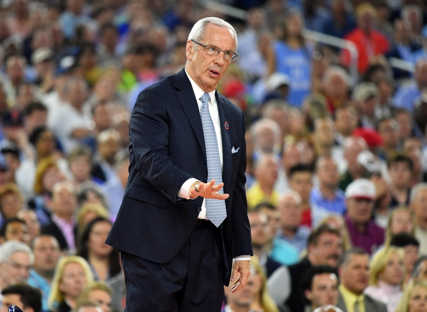 Apr 4, 2016; Houston, TX, USA; North Carolina Tar Heels head coach Roy Williams gestures against the Villanova Wildcats in the first half in the championship game of the 2016 NCAA Men
