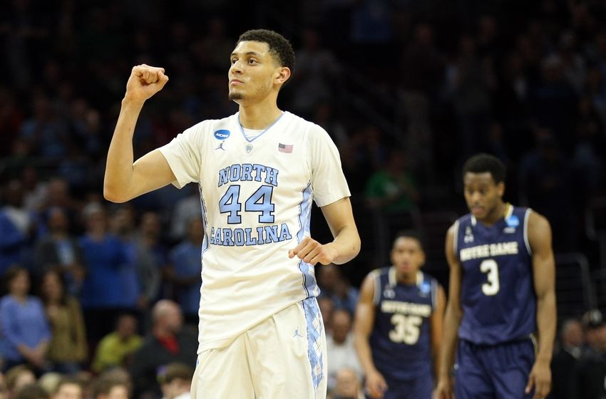 Mar 27, 2016; Philadelphia, PA, USA; North Carolina Tar Heels forward Justin Jackson (44) reacts during the second half against the Notre Dame Fighting Irish in the championship game in the East regional of the NCAA Tournament at Wells Fargo Center. Mandatory Credit: Bill Streicher-USA TODAY Sports