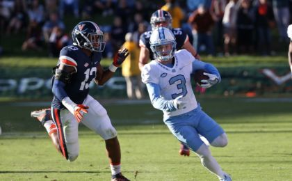 Oct 22, 2016; Charlottesville, VA, USA; North Carolina Tar Heels wide receiver Ryan Switzer (3) runs with the ball as Virginia Cavaliers linebacker Chris Peace (13) chases in the third quarter at Scott Stadium. Mandatory Credit: Amber Searls-USA TODAY Sports