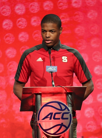 Oct 26, 2016; Charlotte, NC, USA; Dennis Smith, Jr. of the North Carolina State Wolfpack speaks to the media during ACC Operation Basketball at The Ritz-Carlton. Mandatory Credit: Jim Dedmon-USA TODAY Sports