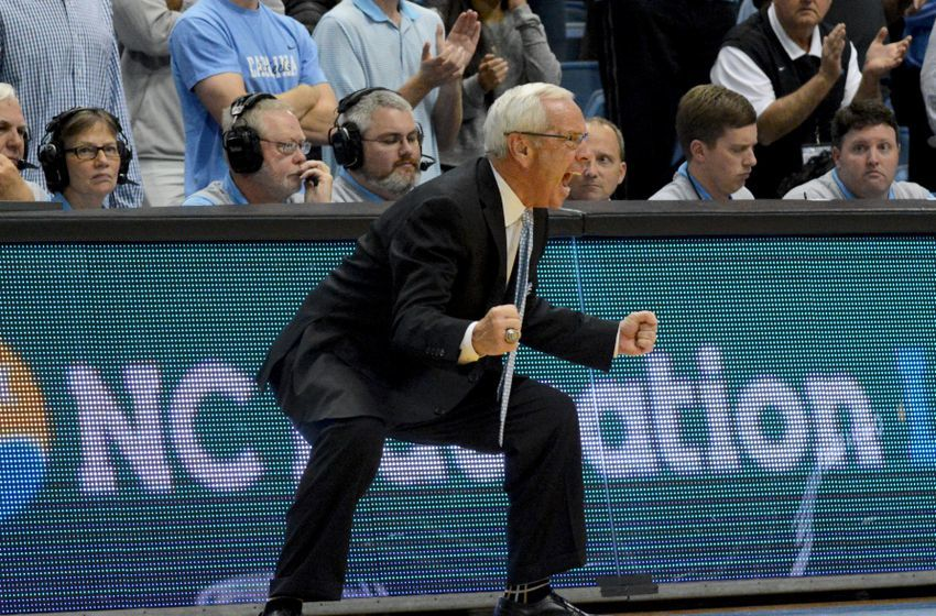 Dec 7, 2016; Chapel Hill, NC, USA; North Carolina Tar Heels head coach Roy Williams reacts during the second half against the Davidson Wildcats at Dean E. Smith Center. The Tar Heels won 83-74. Mandatory Credit: Rob Kinnan-USA TODAY Sports