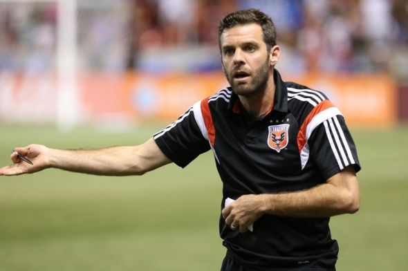 Aug 9, 2014; Sandy, UT, USA; D.C. United head coach Ben Olsen question the referee about a call during the second half against the Real Salt Lake at Rio Tinto Stadium. Real Salt Lake one the game 3-0. Mandatory Credit: Chris Nicoll-USA TODAY Sports