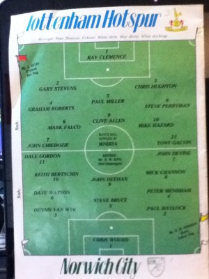 1984 Programme. Tottenham & Norwich Teams [Photo: Alan Hill]