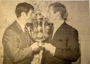 Jimmy Robertson and Frank Saul with the FA Cup in 1967. [Photo: Logan Holmes]
