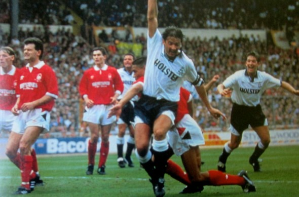 Gary Mabbutt celebrates in 1991 FA Cup Final [Photo: Logan Holmes]
