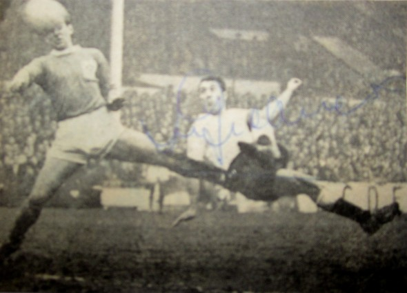 Newspaper photograph of Jimmy Greaves' first Tottenham goal, signed by the player. [Photo: Logan Holmes]