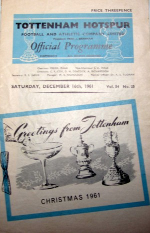 Programme for Tottenham v Blackpool in Devember, 1961. Jimmy Greaves' Tottenham debut. [Photo: Logan Holmes]