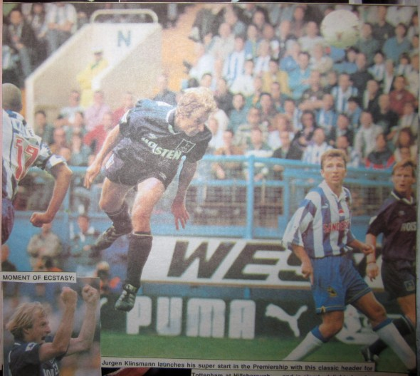 Klinsmann scores his first Tottenham goal at Sheffield Wednesday [Photo: Logan Holmes]