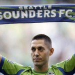 Aug 3, 2013; Seattle, WA, USA; Seattle Sounders forward Clint Dempsey (2) is introduced during a pre game ceremony before the match against FC Dallas at CenturyLink Field. Mandatory Credit: Joe Nicholson-USA TODAY Sports