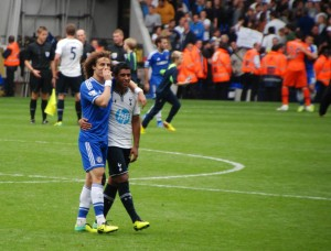 Paulinho and David Luiz at final whistle [Photo: Jav The_DoC_66]