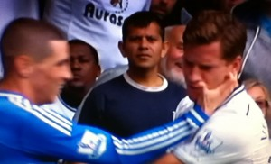 Torres claws at Jav Vertonghen's face [Photo: Alan Hill]