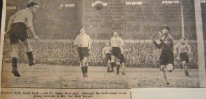 Sonny Walters heads the opening goal in the 1954 FA Cup replay against Hull [Photo: Logan Holmes]