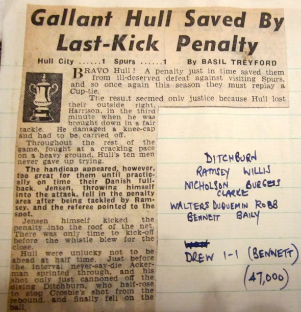 Newspaper cutting from first game. [Photo: Logan Holmes]