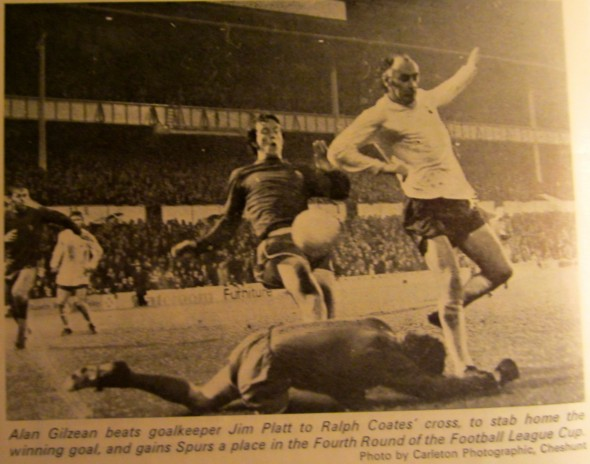 Alan Gilzean scores the winning goal in extra time [Photo: Logan Holmes]