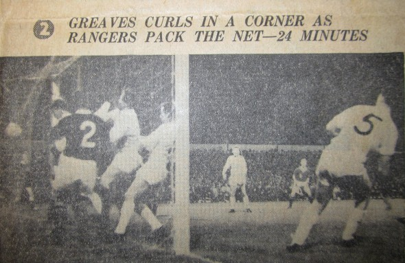 Jimmy Greaves scores against Rangers [Photo: Logan Holmes]