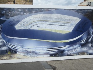 Hoardings around WLH displaying the 'new stadium'. [Photo: Logan Holmes]