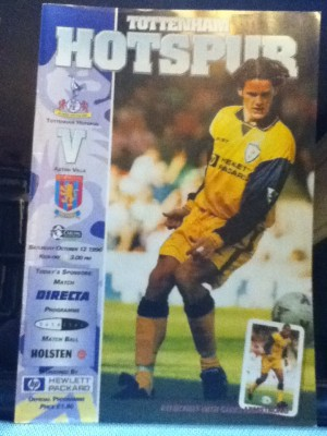 Spurs v Aston Villa programme 1996 [Photo: Alan Hill]