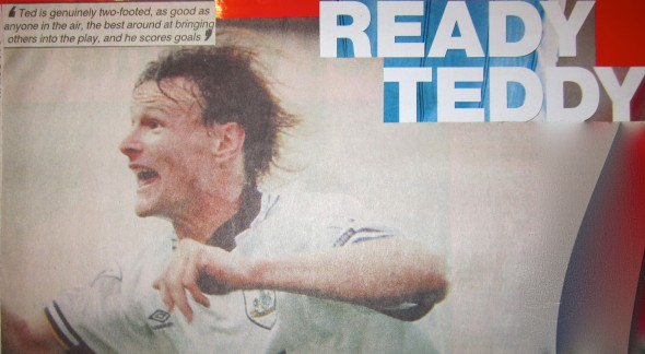Teddy Sheringham scored Spurs equaliser [Photo: Logan Holmes]