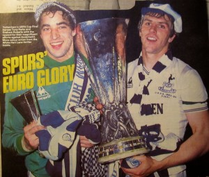 Roberts with Tony Parks and the UEFA Cup [Photo: Logan Holmes]