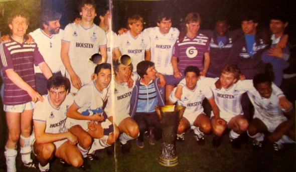 Graham Roberts and Micky Hazard with the 1984 UEFA Cup winning team. [Photo: Logan Holmes]