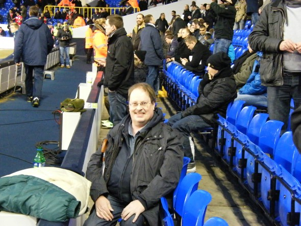 Season ticket holder, Alan, in West Stand Lower (of TV fame) [Photo: Alan Hill]