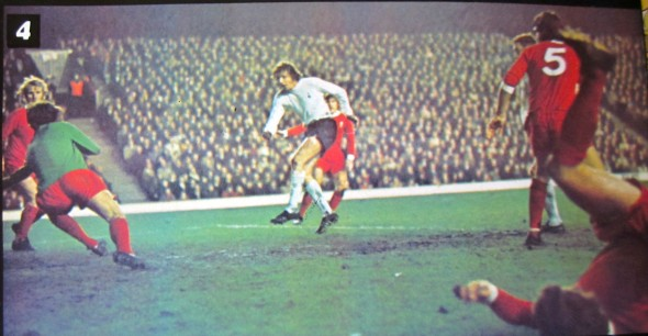 Martin Peters puts Spurs ahead at Anfield in 1972 LC [Photo: Logan Holmes]