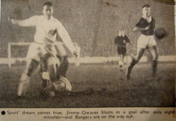 Jimmy Greaves scores Spurs first goal against Rangers [Photo: Logan Holmes]