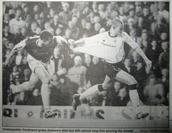 Bobby Zamora's only goal for Spurs against West Ham in LC [Photo: Logan Holmes]