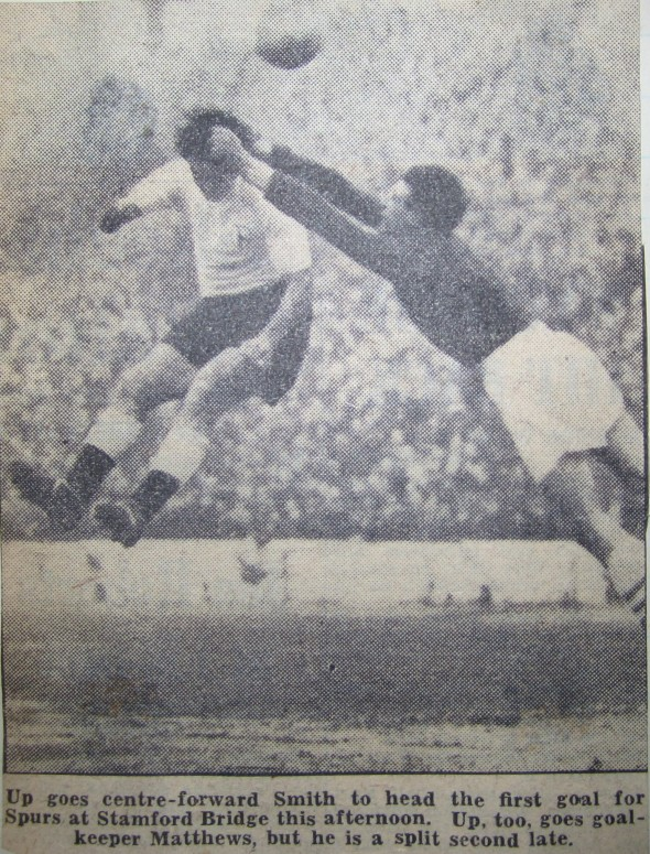 Bobby Smith scores at Chelsea in 1957 [Photo: Logan Holmes]