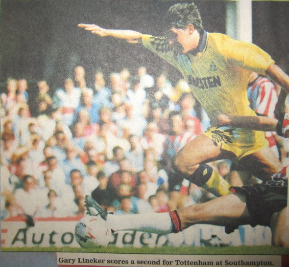 Gary Lineker scores against Southampton (August 1991) [Photo: Logan Holmes]