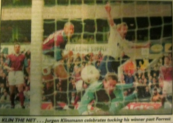 Klinsmann scores against West Ham [Photo: Logan Holmes]