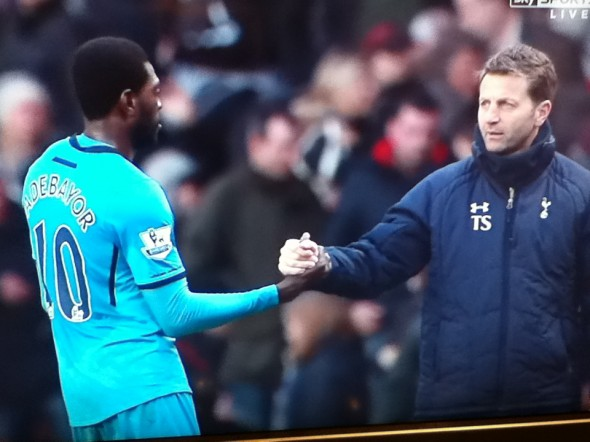Emmanuel Adebayor and Tim Sherwood [Photo: Alan Hill]