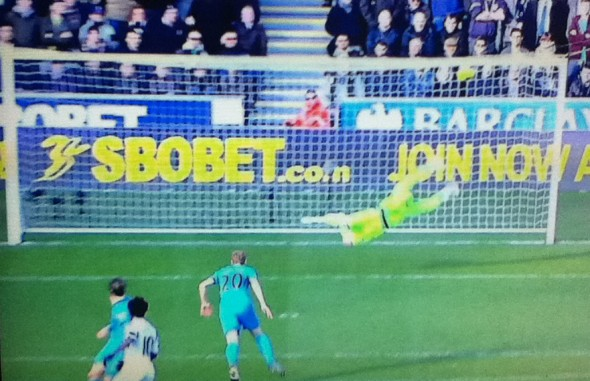 Narrow escape as Bony's shot hits the bar. [photo: Alan Hill]