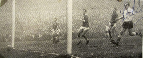 Jimmy Greaves (not in shot) scores Spurs first goal (signed by Les Allen) [Photo: Logan Holmes]