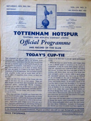 Spurs v Crewe programme [Photo: Logan Holmes]