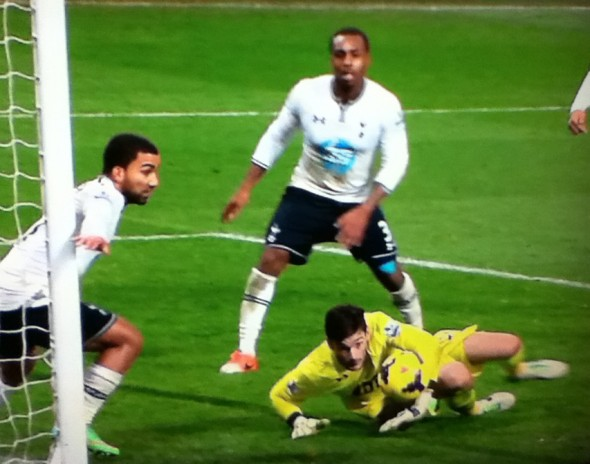 Hugo Lloris in late action [Photo: Alan Hill]