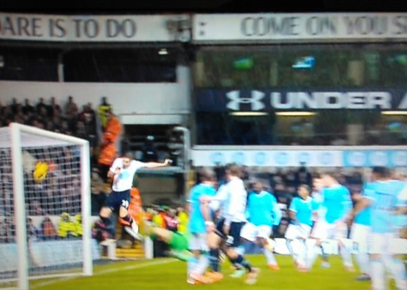 Dawson's disallowed goal [Photo: Alan Hill]