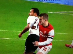 Wilshere challenge [Photo: Alan Hill]