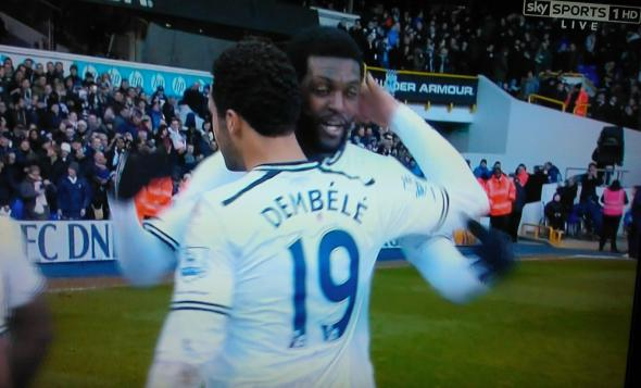Adebayor celebrates [Photo: Alan Hill]