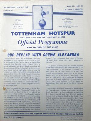 Spurs v Crewe Feb. 1960 [Photo: Logan Holmes]